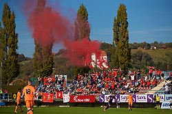 LENDAVA, SLOVENIA - Tuesday, October 17, 2017: Liverpool supporters with red smoke bombs during the UEFA Youth League Group E match between NK Maribor and Liverpool at Športni Park. (Pic by David Rawcliffe/Propaganda)
