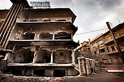 March 24 , 2012-Damascus , Syria : Traces of devastation left by  a terrorist explosion targeted Kassa'a neighborhood on March 17 , 2012 and caused tens of victims between dead and injured .