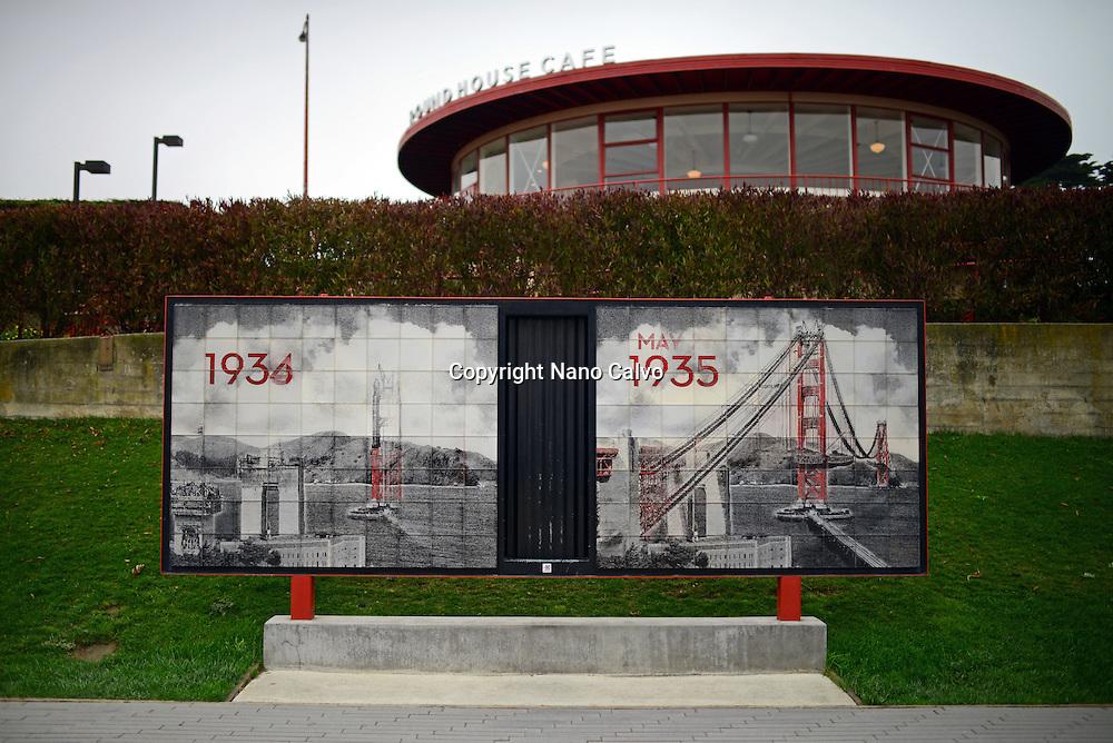 Old pictures of Golden Gate Bridge, San Francisco.