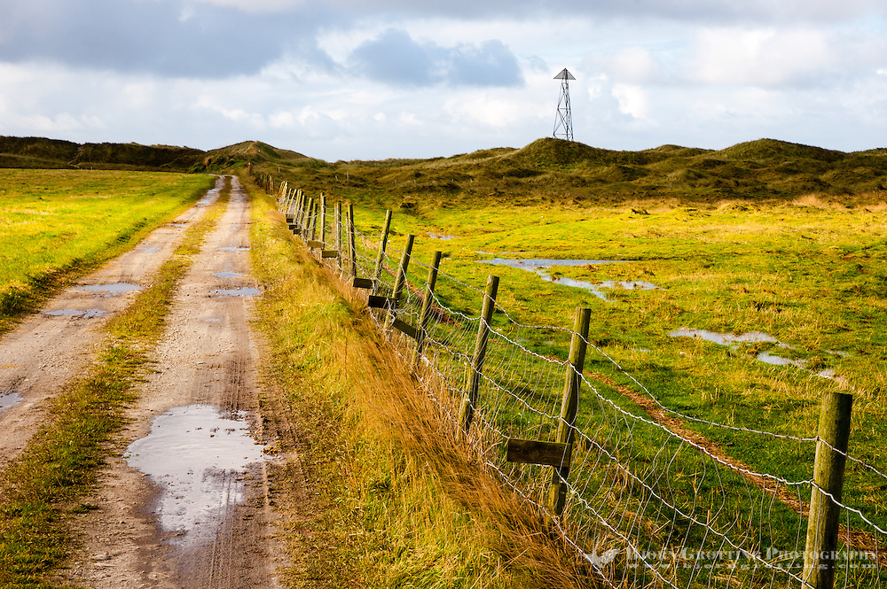 Norway, Rogaland, Revtangen. Road leading down to the beach.
