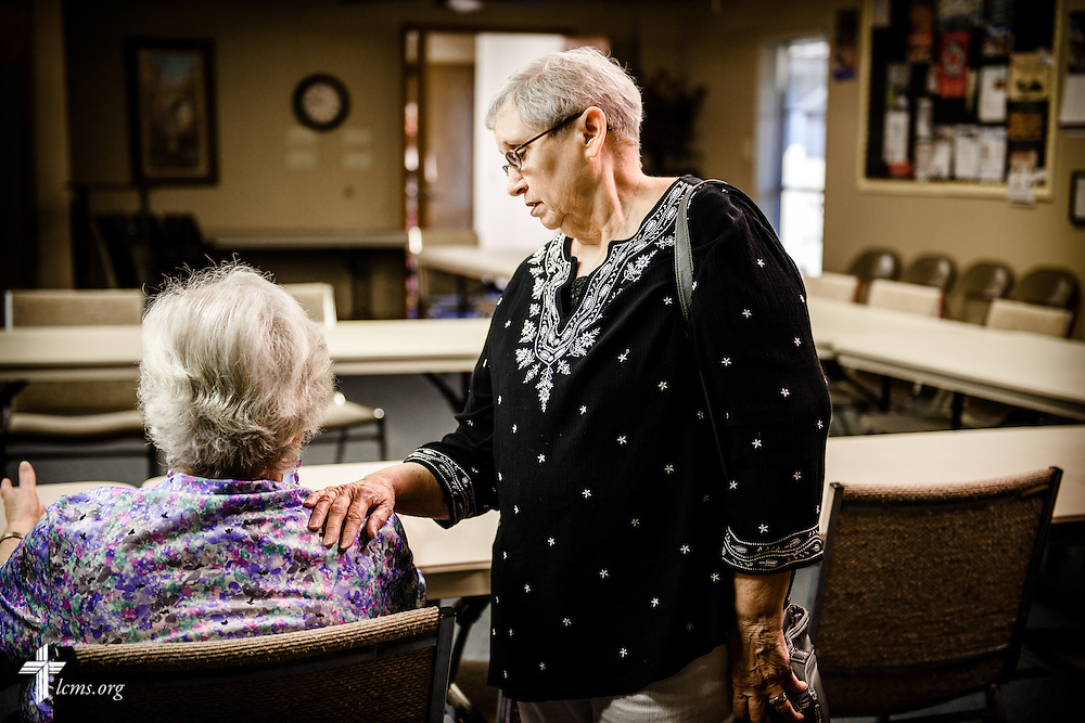 #EyesofLife Jean Amundson listens to a fellow church member as the two talk before Bible class at Ascension Lutheran Church on Wednesday, May 11, 2016, in Cleburne, Texas. LCMS Communications/Erik M. Lunsford