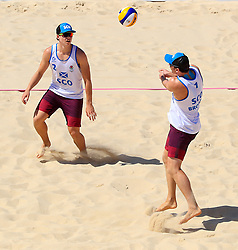 Scotland's Seain Cook (left) and Robin Miedzybrodzki in action during the Men's Preliminary - Pool B Beach Volleyball match against Sri Lanka at Coolangatta Beachfront during day two of the 2018 Commonwealth Games in the Gold Coast, Australia.