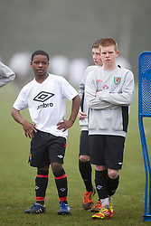 CARDIFF, WALES - Thursday, March 15, 2012: Wales U16's Nyasha Mwamuka (Shrewsbury Town FC & Ysgol Uwchraddllanfair Caerinion) and Corrig McGonigle (Ysgol David Hughes) during a training session at the Glamorgan Sports Park. (Pic by David Rawcliffe/Propaganda)