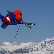 Chris Laker, USA, in action in the Slopestyle Finals during The North Face Freeski Open at Snow Park, Wanaka, New Zealand, 2nd September 2011. Photo Tim Clayton....