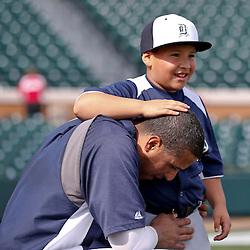 Feb 23, 2013; Lakeland, FL, USA; Detroit Tigers designated hitter Victor Martinez (41) with his son Victor Jose Martinez before a spring training game against the Toronto Blue Jays at Joker Marchant Stadium. Mandatory Credit: Derick E. Hingle-USA TODAY Sports