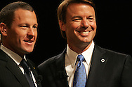 27 August 2007: Lance Armstrong (left), and Democratic presidential hopeful John Edwards at the LIVESTRONG Presidential Cancer Forum in Cedar Rapids, Iowa on August 27, 2007.