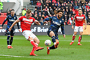 Tomas Kalas (22) of Bristol City clears the ball away from Tyler Roberts (11) of Leeds United during the EFL Sky Bet Championship match between Bristol City and Leeds United at Ashton Gate, Bristol, England on 9 March 2019.