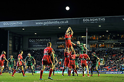 Bakkies Botha of Toulon rises high to win lineout ball - Photo mandatory by-line: Patrick Khachfe/JMP - Mobile: 07966 386802 07/12/2014 - SPORT - RUGBY UNION - Leicester - Welford Road - Leicester Tigers v Toulon - European Rugby Champions Cup