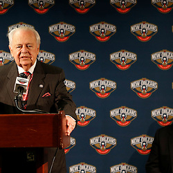 Nov 8, 2013; New Orleans, LA, USA;  New Orleans Pelicans and New Orleans Saints owner Tom Benson speaks to the media during a press conference with NBA commissioner David Stern prior to a game against the Los Angeles Lakers at New Orleans Arena. Mandatory Credit: Derick E. Hingle-USA TODAY Sports