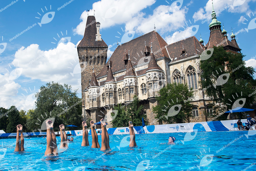 United States team training <br /> Synchronised swimming , Synchro<br /> 12/07/2017 <br /> XVII FINA World Championships Aquatics<br /> City Park - Varosliget Lake<br /> Budapest Hungary <br /> Photo Andrea Staccioli/Deepbluemedia/Insidefoto