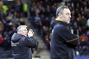 Hull City Manager Nigel Adkins applauds his players during the EFL Sky Bet Championship match between Hull City and Swansea City at the KCOM Stadium, Kingston upon Hull, England on 22 December 2018.