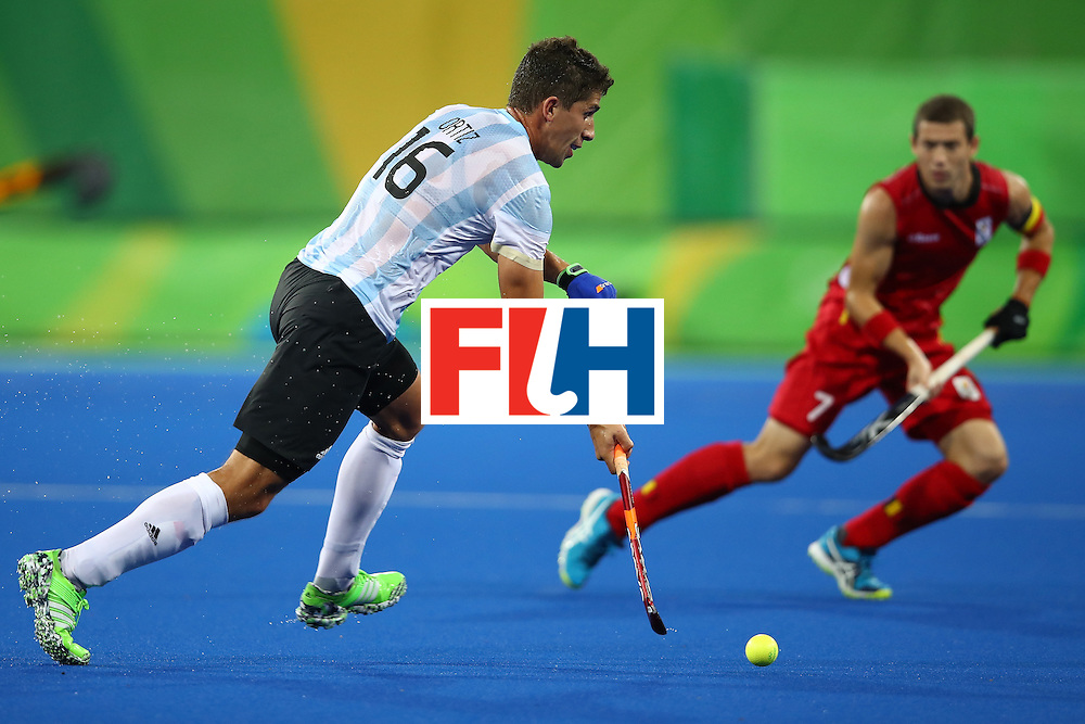 RIO DE JANEIRO, BRAZIL - AUGUST 18:  Ignacio Ortiz #16 of Argentina during the Men's Hockey Gold Medal match between Belgium and Argentina on Day 13 of the Rio 2016 Olympic Games at Olympic Hockey Centre on August 18, 2016 in Rio de Janeiro, Brazil.  (Photo by Clive Brunskill/Getty Images)