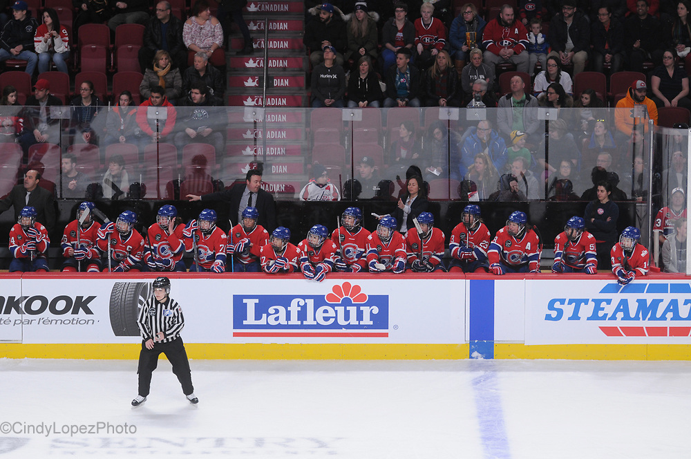 Les Canadiennes on the home bench at the Bell Centre. It was a historic 1-0 win against the Calgary Inferno as Montreal hosted the 1st ever women's professional hockey game at the Bell Centre with 6000 in attendance. December 2016. (Cult MTL)