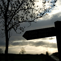 Silhouette of a bridleway sign