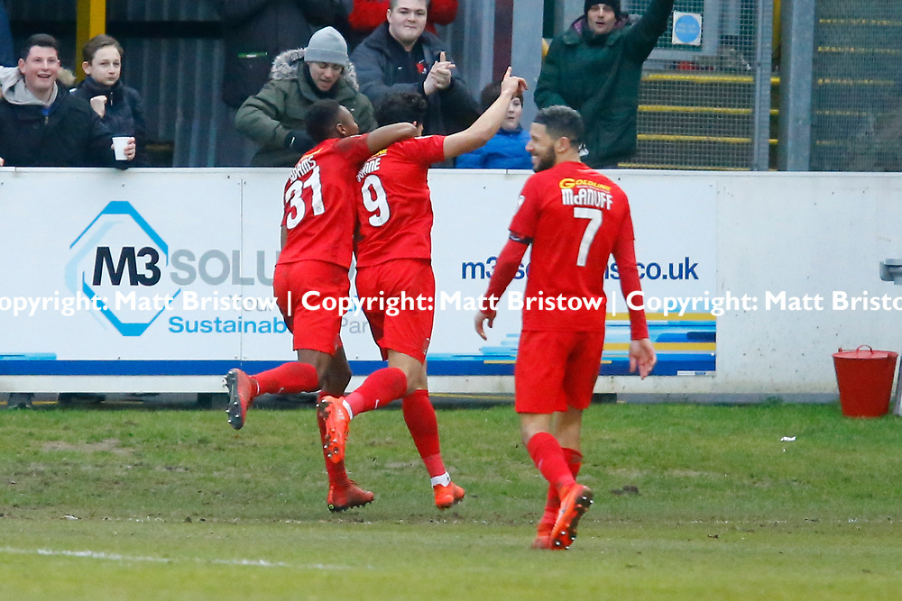 Leyton Orient's forward Macauley Bonne celebrates scoring the O's second goal during the The FA Trophy match between Dover Athletic and Leyton Orient at Crabble Stadium, Kent on 3 February 2018. Photo by Matt Bristow.