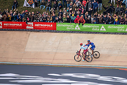1st Philippe Gilbert (BEL) of Deceuninck - Quick Step (BEL,WT,Specialized) and 2nd Nils Politt (GER) of Team Katusha - Alpecin (SUI,WT,Canyon) during the 2019 Paris-Roubaix (1.UWT) with 257 km racing from Compiègne to Roubaix, France. 14th April 2019. Picture: Thomas van Bracht | Peloton Photos<br /> <br /> All photos usage must carry mandatory copyright credit (Peloton Photos | Thomas van Bracht)