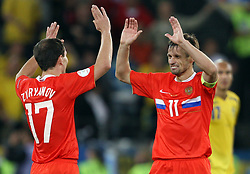Konstantin Zyryanov of Russia (17) and Sergei Semak of Russia (11) after the UEFA EURO 2008 Group D soccer match between Sweden and Russia at Stadion Tivoli NEU, on June 18,2008, in Innsbruck, Austria. Russia won 2:0. (Photo by Vid Ponikvar / Sportal Images)