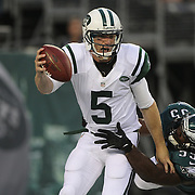Jets quarterback Matt Simms is sacked by Brandon Graham in first quarter action during the New York Jets V Philadelphia Eagles Pre Season NFL match at MetLife Stadium, East Rutherford, NJ, USA. 29th August 2013. Photo Tim Clayton