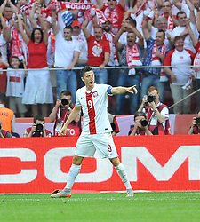 13.06.2015, Nationalstadion, Warschau, POL, UEFA Euro 2016 Qualifikation, Polen vs Greorgien, Gruppe D, im Bild ROBERT LEWANDOWSKI GOL, RADOSC BRAMKA NA 2-0 // during the UEFA EURO 2016 qualifier group D match between Poland and Greorgia at the Nationalstadion in Warschau, Poland on 2015/06/13. EXPA Pictures © 2015, PhotoCredit: EXPA/ Pixsell/ RAFAL RUSEK<br /> <br /> *****ATTENTION - for AUT, SLO, SUI, SWE, ITA, FRA only*****