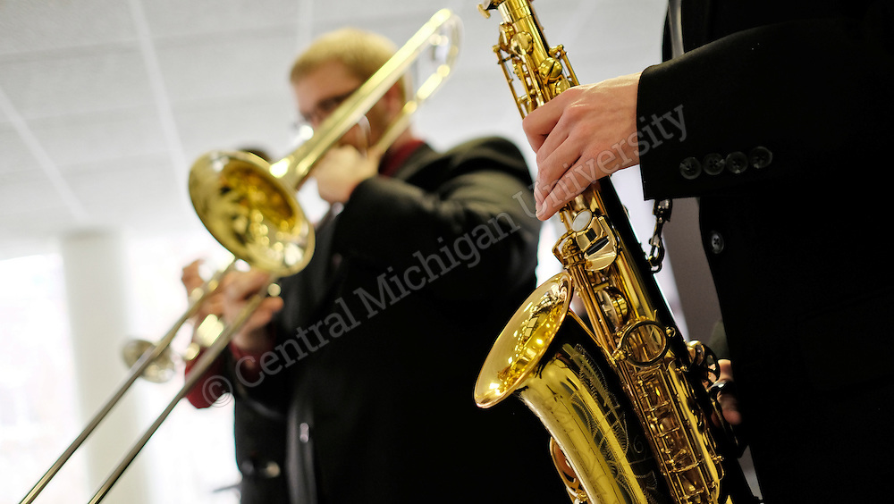 More than 1,200 college, high school and junior high school students gathered at CMU to participate in the 43rd annual Jazz Weekend hosted by the CMU School of Music. From big bands to small jazz combos, student groups performed in front of a panel of judges to receive ratings and awards.  Photo by Steve Jessmore/Central Michigan University