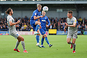 AFC Wimbledon attacker Marcus Forss (15) battles for possession during the EFL Sky Bet League 1 match between AFC Wimbledon and Portsmouth at the Cherry Red Records Stadium, Kingston, England on 19 October 2019.
