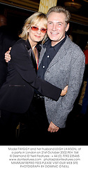 Model TWIGGY and her husband LEIGH LAWSON, at a party in London on 21st October 2002.	PEH 164