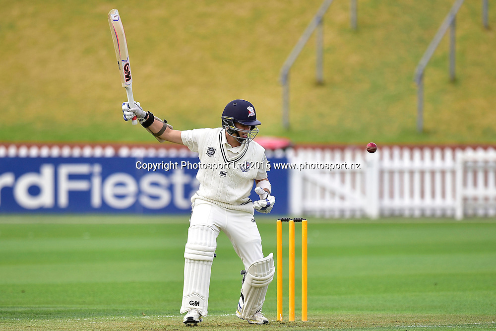 Mark Chapman of the Aces plays a shot during the Plunket Shield cricket match between the Wellington Firebirds and Auckland Aces at the Basin Reserve in Wellington on Wednesday the 23rd March 2016. Copyright Photo by Marty Melville / www.Photosport.nz