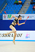 Staykova Sara during qualifying clubs at the Pesaro World Cup 02 April 2016. Sara is an Bulgarian individual rhythmic gymnast, she was born in 13 November 1993 Plovdiv, Bulgaria.She retired from rhythmic gymnastics in May 2016.