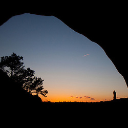 Sundown Through Double O Arch, Arches National Park, Utah, US