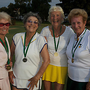 Silver medalist, from left, Joan Bak, Canada, and Rita Price, USA, with Gold medal winners,  Jutta Apel, Germany, and Elisie Crowe, after the 80 Womens Doubles Final  during the 2009 ITF Super-Seniors World Team and Individual Championships at Perth, Western Australia, between 2-15th November, 2009.