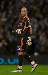03.01.2012, Etihad Stadion, Manchester, ENG, PL, Manchester City vs FC Liverpool, 19. Spieltag, im Bild Liverpool's goalkeeper Jose Reina looks dejected and throws away a sprout that was thrown at him after Manchester City's second goal during the football match of English premier league, 19th round, between Manchester City and FC Liverpool at Etihad Stadium, Manchester, United Kingdom on 2012/01/03. EXPA Pictures © 2012, PhotoCredit: EXPA/ Propagandaphoto/ David Rawcliff..***** ATTENTION - OUT OF ENG, GBR, UK *****