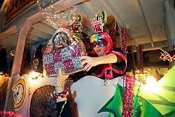 03 February 2016. New Orleans, Louisiana.<br /> Mardi Gras. The rider hands out a coveted decorated handbag with the all female Mystic Krewe of Nyx as the Krewe parades along Magazine Street with brightly decorated floats, marching bands and dance troupes.<br /> Photo&copy;; Charlie Varley/varleypix.com