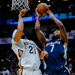 Jan 20, 2018; New Orleans, LA, USA; Memphis Grizzlies guard Wayne Selden (7) shoots over New Orleans Pelicans forward Anthony Davis (23) during the first half at the Smoothie King Center. Mandatory Credit: Derick E. Hingle-USA TODAY Sports