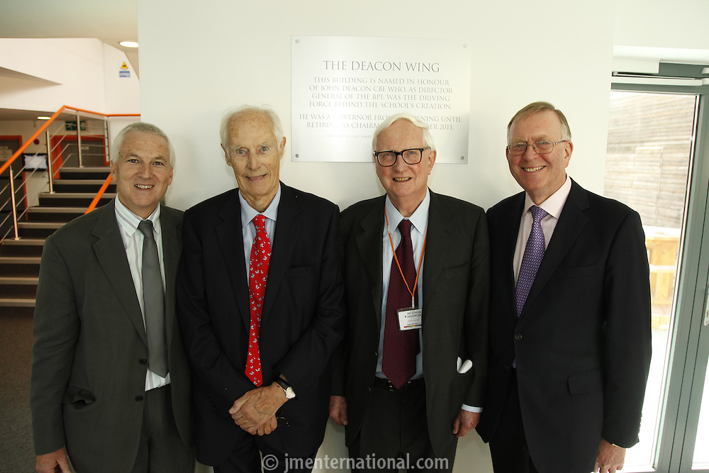 Nick Williams (BRIT School Principal), Sir George Martin CBE, Sir Cyril Taylor CBE and John Deacon CBE (l-r). The BRIT School Industry Day, Croydon, London..Thursday, Sept.22, 2011 (John Marshall JME)