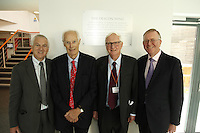 Nick Williams (BRIT School Principal), Sir George Martin CBE, Sir Cyril Taylor CBE and John Deacon CBE (l-r). The BRIT School Industry Day, Croydon, London..Thursday, Sept.22, 2011 (John Marshall JME)