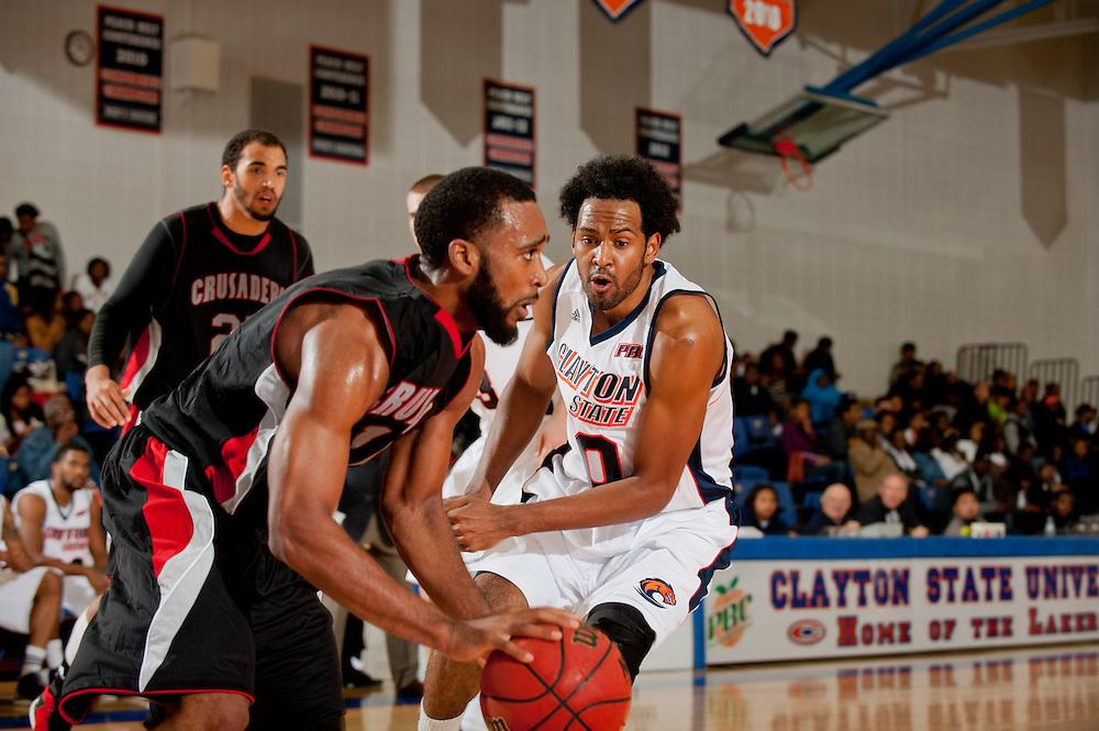 Nov. 13, 2012; Morrow, GA, USA; Clayton State men's basketball player Omari Murray against Tennessee Temple alumni at CSU. Photo by Kevin Liles/kdlphoto.com