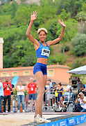 Yulimar Rojas (VEN) celebrates after winning the women's triple jump at 49-1 3/4  (14.98m) in the  Herculis Monaco in an IAAF Diamond League meet , Thursday, July 11, 2019, in Port Hercules, Monaco.(Jiro Mochizuki/Image of Sport)