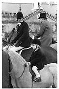Simon Morrison with his mother Charlotte Morrison, Cattistock Hunt, Melbury, 14.11.87© Copyright Photograph by Dafydd Jones 66 Stockwell Park Rd. London SW9 0DA Tel 020 7733 0108 www.dafjones.com