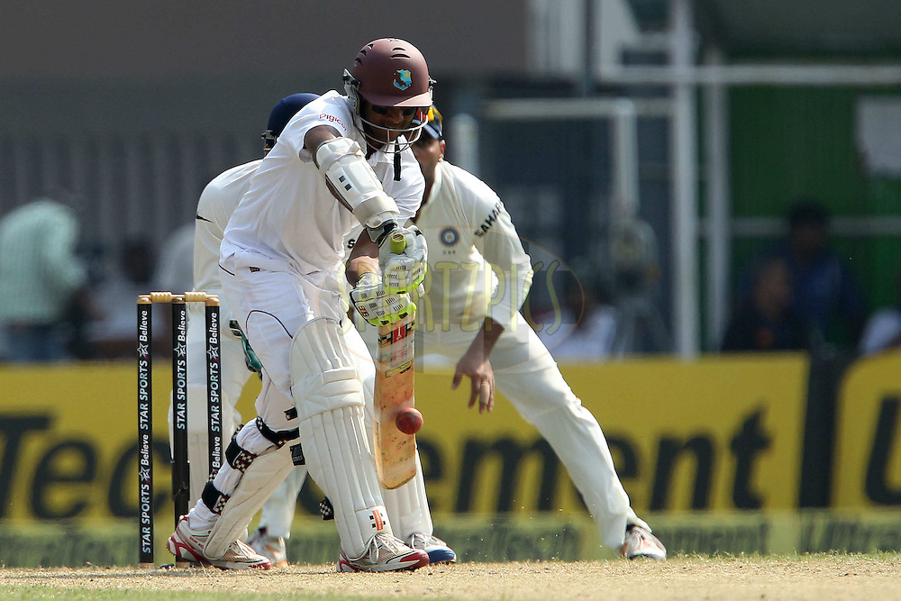 Shivnarine Chanderpaul of West Indies during day one of the first test match between India and The West Indies held at The Eden Gardens Stadium in Kolkata, India on the 6th November 2013<br /> <br /> Photo by: Ron Gaunt - BCCI - SPORTZPICS