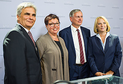 25.08.2014, Parlament, Wien, AUT, SPOe, Pressekonferenz zu den Personalentscheidungen nach Sitzung des Parteipraesidium. im Bild v.l.n.r. Bundeskanzler Werner Faymann SPOe, designierte Gesundheitsministerin Sabine Oberhauser (SPOe), designierter Bundesminister fuer Verkehr, Innovation und Technologie Alois Stoeger (SPOe) und vorgeschlagene Nationalratspraesidentin Doris Bures // f.l.t.r. Federal Chancellor Werner Faymann SPOe, designated Minister of Health Sabine Oberhauser (SPOe), designated Minister of transport, innovation and technology Alois Stoeger (SPOe) and designated President of the National Council of Austria Doris Bures (SPOe) during press conference after Executive Committee meeting of SPOe at Austrian Parliament in Vienna, Austria on 2014/08/25  EXPA Pictures © 2014, PhotoCredit: EXPA/ Michael Gruber