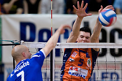 Andrej Kovacic vs Alen Sket at final match of Slovenian National Volleyball Championships between ACH Volley Bled and Salonit Anhovo, on April 24, 2010, in Radovljica, Slovenia. ACH Volley defeated Salonit 3rd time in 3 Rounds and became Slovenian National Champion.  (Photo by Vid Ponikvar / Sportida)