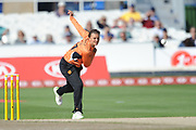 Suzie Bates of Southern Vipers bowling during the Women's Cricket Super League match between Southern Vipers and Surrey Stars at the 1st Central County Ground, Hove, United Kingdom on 14 August 2018.