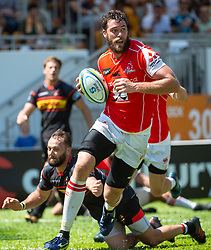 May 19, 2018 - Hong Kong, Hong Kong, China - Right lock, Grant Hattingh, runs to score a try. Japanese team Sunwolves win 26-23 over South Africa's Stormers in Rugby Super League's Hong Kong debut. Mong Kok Stadium, Hong Kong . Photo Jayne Russell (Credit Image: © Jayne Russell via ZUMA Wire)