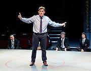 Future Conditional <br /> by Tamsin Oglesby<br /> directed by Matthew Warchus<br /> at The Old Vic Theatre, London, Great Britain, London, Great Britain<br /> 4th September 2015 <br /> <br /> <br /> Rob Brydon as Crane<br /> <br /> and company:<br /> <br /> Matthew Aubrey, Louisa Beadel, Lucy Briggs-Owen, Alex Clatworthy, Peta Cornish, Natasha Cottriall, Amy Dawson, Jennifer English, Sam Jenkins-Shaw, Natalie Klamar, Carla Langley, Ben Lloyd-Hughes, Louis Martin, Joshua McGuire, Sukh Ojla, Bill Parfitt, Nikki Patel, Howard Perret, Sandra Reid, Sofia Stuart, Eleanor Sutton, Brian Vernel and Carmen Vandenberg. <br /> <br /> <br /> Photograph by Elliott Franks <br /> Image licensed to Elliott Franks Photography Services