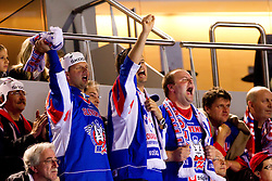 Fans of Slovenia during ice-hockey match between Russia and Slovenia of Group A of IIHF 2011 World Championship Slovakia, on May 1, 2011 in Orange Arena, Bratislava, Slovakia. Russia defeated Slovenia 6-4. (Photo By Vid Ponikvar / Sportida.com)