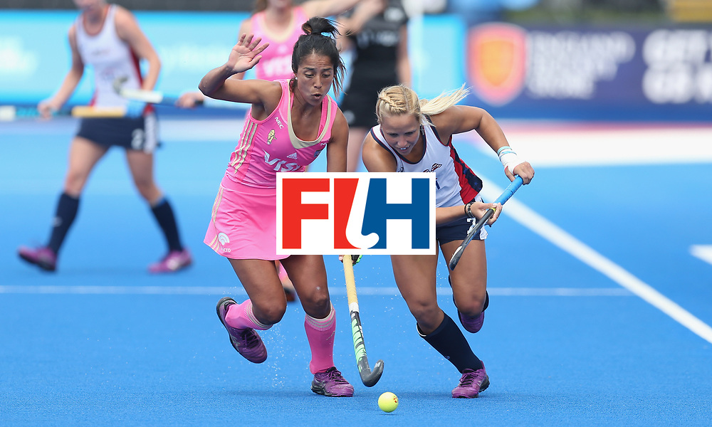 LONDON, ENGLAND - JUNE 19:  Gabriela Aguirre of Argentina and Kelsey Wolojejchick of USA during the FIH Women's Hockey Champions Trophy match between USA and Argentina at Queen Elizabeth Olympic Park on June 19, 2016 in London, England.  (Photo by Alex Morton/Getty Images)