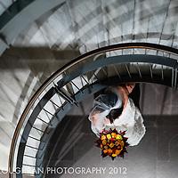 The bride on her way to her wedding ceremony in Poble Espanyol, Montjuic, Barcelona, Spain.