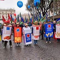 Manifestazione dei lavoratori dell'agroindustria contro il Jobs act