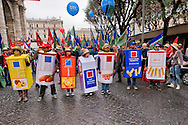 Roma 29 Novembre 2014<br /> Manifestazione dei lavoratori dell'agroindustria, promossa  dai sindacati FLAI CGIL e UILA UIL contro il Jobs act del Governo Renzi.<br /> Rome November 29, 2014<br /> Demonstration of the workers of the Agroindustrial, promoted by unions FLAI CGIL and UIL UILA against the Jobs Act of the Prime Minister Renzi's government.