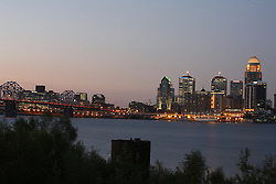 Louisville skyline in the pre-dawn, Wednesday, Oct. 01, 2008 at Ashland Park in Louisville.